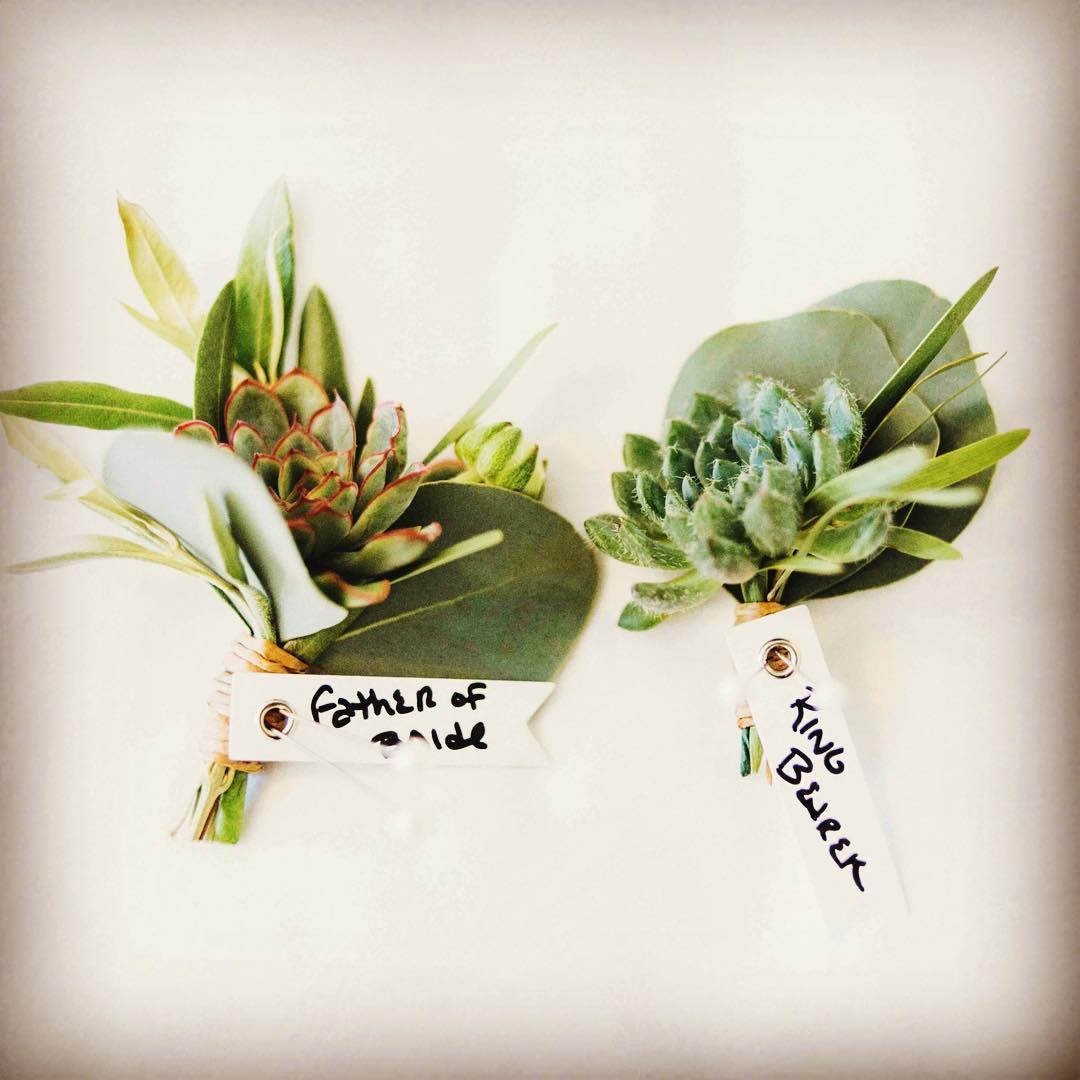 {boy fleurs}  #lotusfloraldesigns #jaimemercuriophotography #boutonnieres #succulents #manwear #greenisthenewblack #nhweddingflowers #eucalyptus