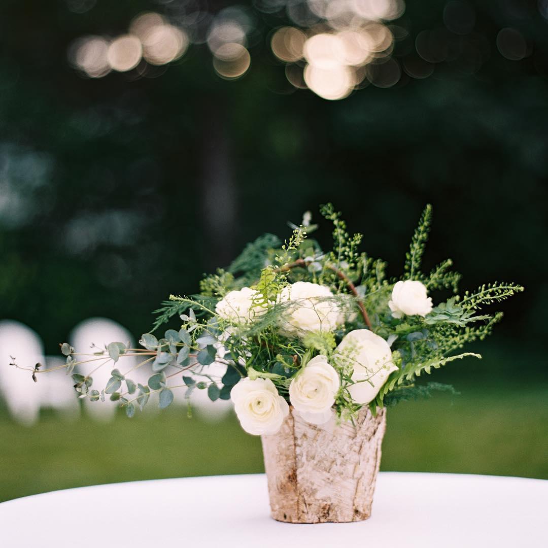 {cocktail hour} @arielledphotography  #rustic #simple #ranunculus #whitebirch #cocktailhour #lotusfloraldesigns #nhwedding #nhweddingflorist #nofilter