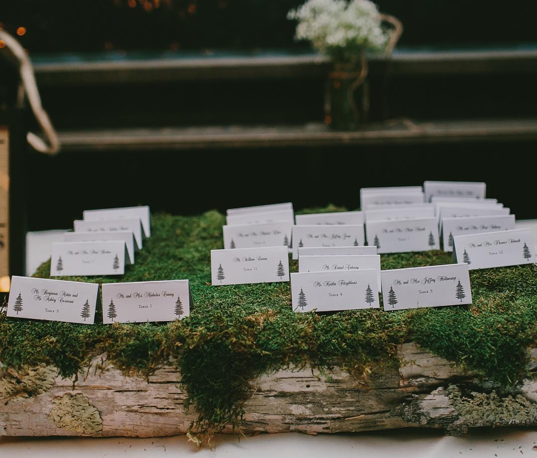 {place cards} @emilydelamater  #placecards #rusticwedding #moss #whitebirch #simple #lotusfloraldesigns #flowerartist #weddingflorist #lotuswedding