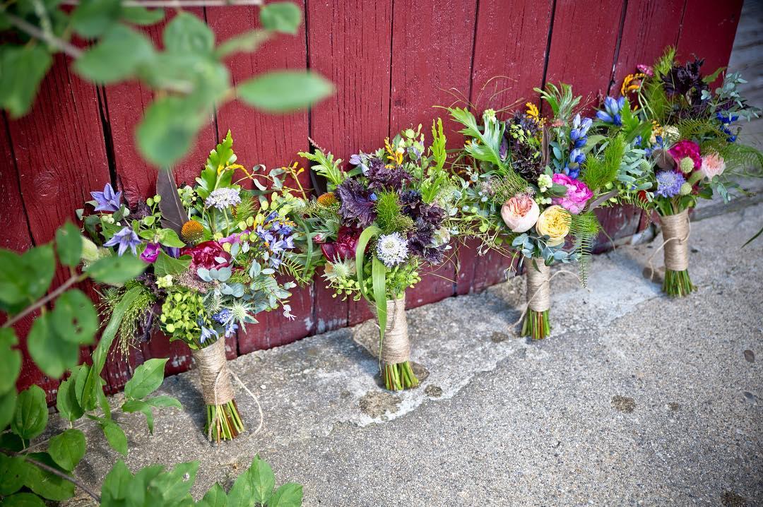 {boho bridesmaids} @sagestudiosphotography  #bohostyle #bohochic #bridesmaidbling #jeweltones #bouquets #rustic #barnwedding #lotusfloraldesigns #weddingflorist