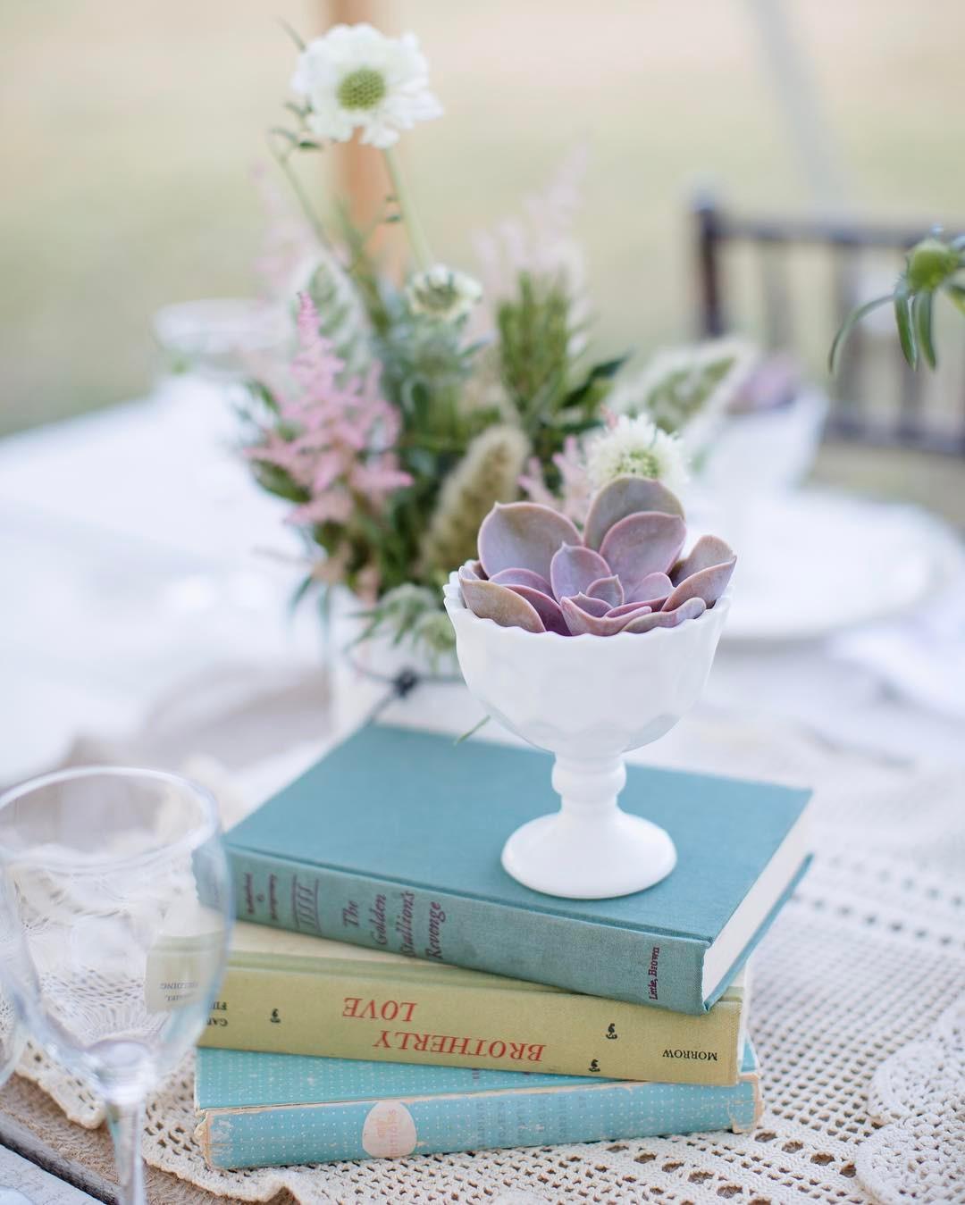 {sweet simplicity} photo | @jharperphoto  #simple #tablescape #vintage #lace #succulents #milkglass #vintagebooks #blush #photoshoot #lotusfloraldesigns #flowerart #weddingflorist