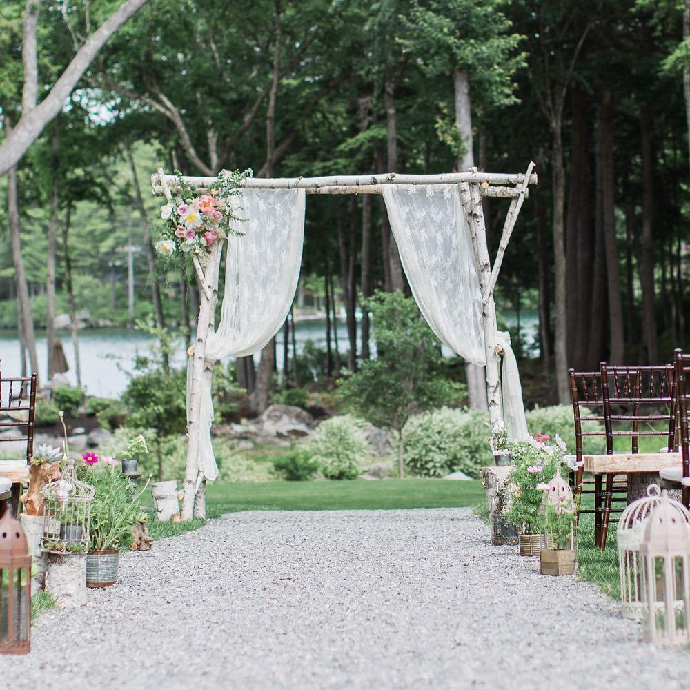 {prettiness} photo   @monpetitstudio  #aisledecor #arbor #whitebirch #lace #whimsical #woodland #lakewedding #lovely #prettyflowers #lotusfloraldesigns #weddingflorist #nhwedding #flowerart