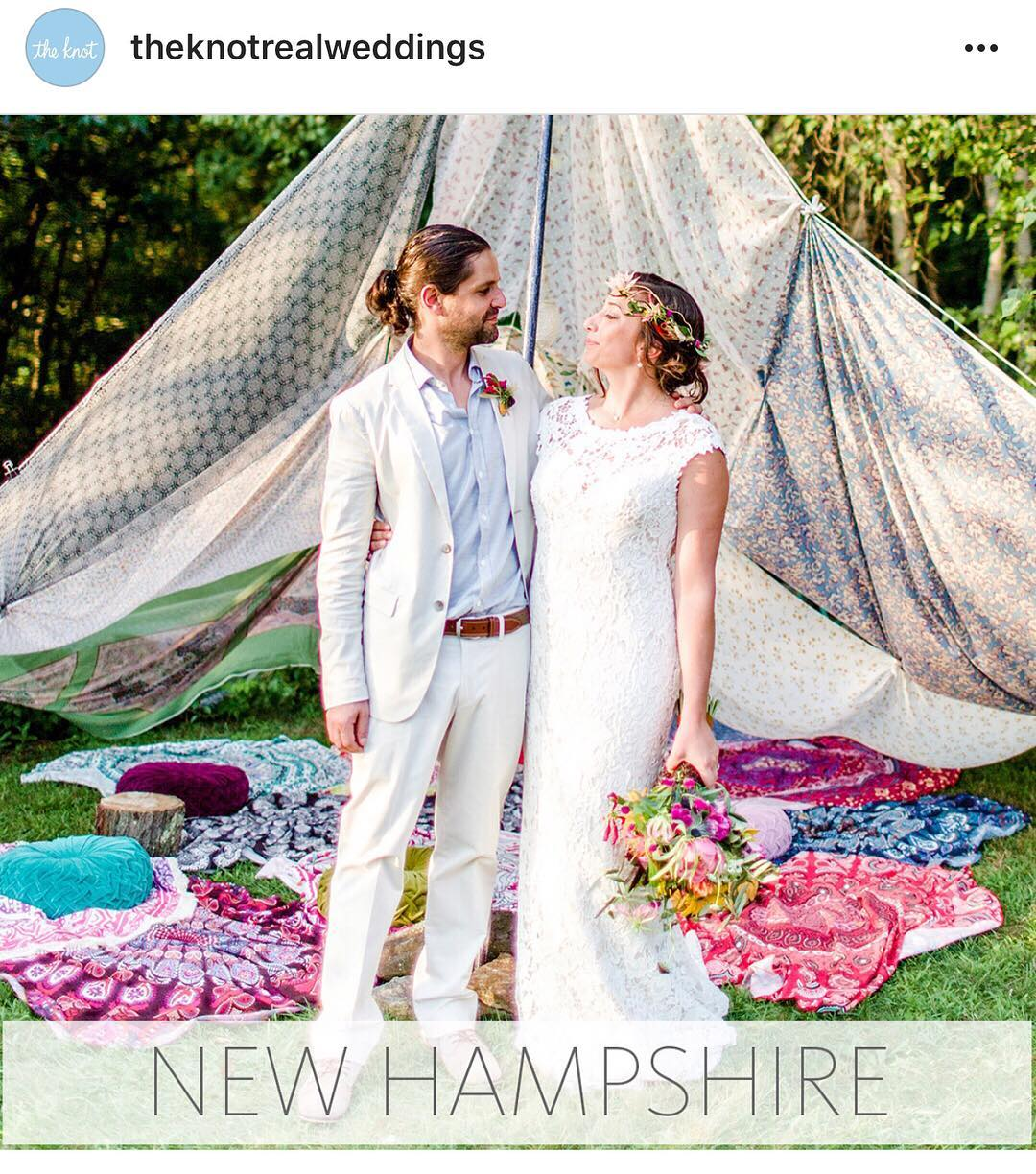 SO happy to see Dor & Nicole's amazing Boho wedding chosen by The Knot to represent NH!!❤❤❤AMAZING pics| @rodeoandcophoto  #theknotrealweddings #50in50 #theknot #bohostyle #amazingcouple #lotusfloraldesigns #lovemyjob
