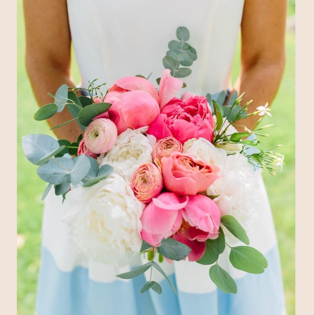 {her girl} photo | @rachelbuckleyweddings  #juneblooms #peonies #hergirl #bridesmaid #lovethatdress #coral #ranunculus #eucalyptus #gardenroses #accessory #prettyflowers #lovely #lotusfloraldesigns #loveflowers #coastofmaine