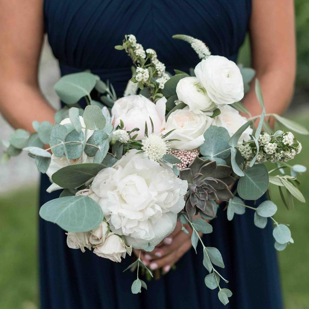 {her girl} photo | @erikafollansbee  #bridesmaid #bouquet #hergirl #prettyflowers #peonies #ranunculus #eucalyptus #succulents #spirea #lotusfloraldesigns #innonnewfoundlake #weddingflorist