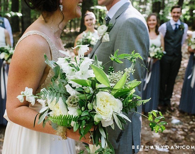 {that smile} photo | @bethanyanddan  #happiness #love #forestwedding #woodland #smilesallaround #bouquet #rustic #lovely #prettyflowers #lotusfloraldesigns #weddingflorist #husbandandwife
