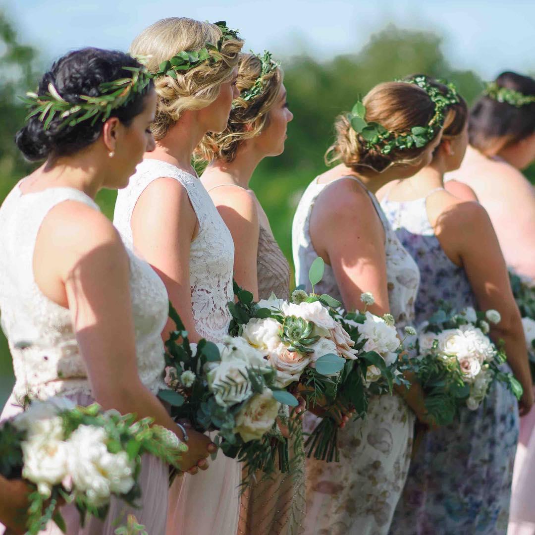 {her lovelies} photo   @callanphoto  coordination   @nhwedplanner . . . #bridesmaids #besties #family #herpeeps #bearingwitness #flowercrowns #lovely #bouquets #nhwedding #barnwedding #rusticshabbychic #lotusfloraldesigns