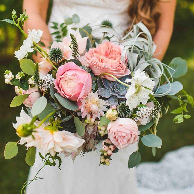 {pretty•ness} photo | @alexwiciel . . . #bride #brideflowers #bouquet #lovely #whimsical #gardenparty #interesting #blush #succulents #scabiosa #gardenroses #airplant #lotusfloraldesigns #flowerart