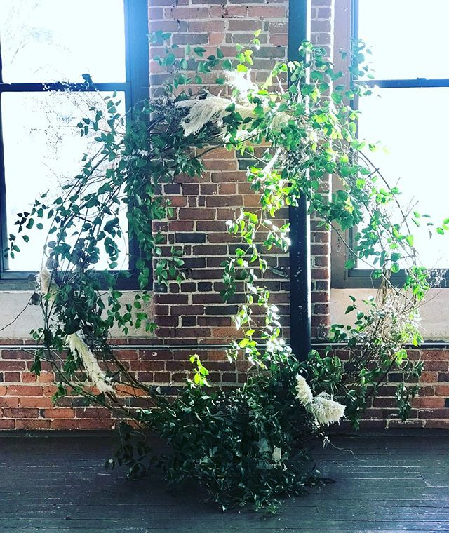 {a little bit of wild} . . #ceremony #ceremonydecor #wreathe #smilax #ceremonybackdrop #branches #pampasgrass #moderndesign #nhwedding #weddingdesign #nhweddingflorist #lotusfloraldesigns #getcreative
