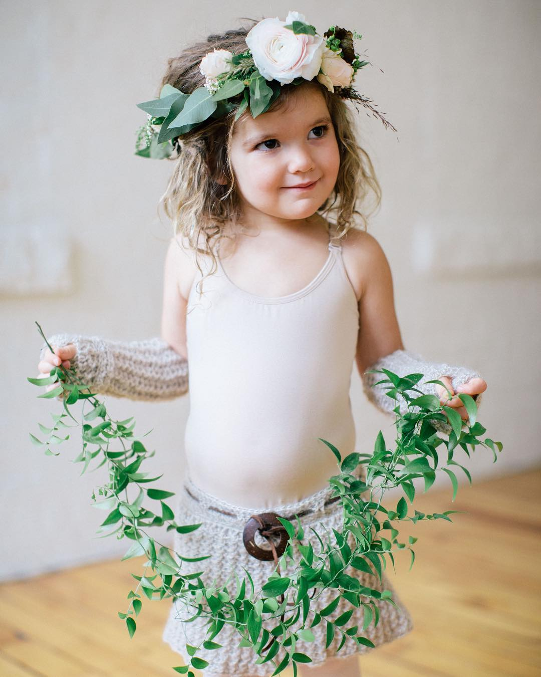 {flower babe} photo | @kate_preftakes  styling/coordination | @eventsbysorrell . . #flowergirl #flowerchild #bohobabe #smilax #flowercrown #ecochic #styledshoot #nhmagazinebride #collaboration #love #lotusfloraldesigns #weddingdesign #prettyflowers